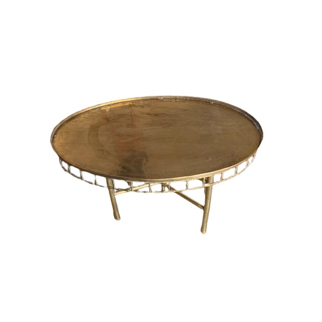 Hollywood Regency Antique Brass Tray With Stand For Sale - Image 3 of 7