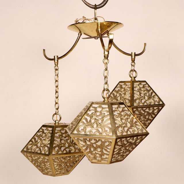 3-Tier Hanging Brass Chinoiserie Lamp - Image 3 of 5