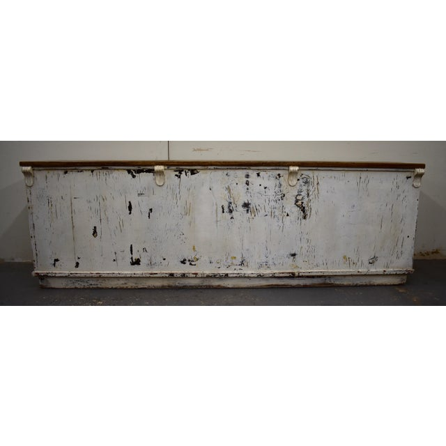 Massive Vintage Painted Pine and Oak Store Counter For Sale - Image 9 of 13