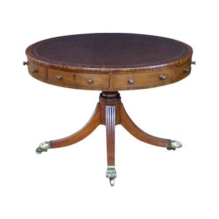 A Handsome English Regency Mahogany Center/Rent Table With Embossed Leather Top For Sale