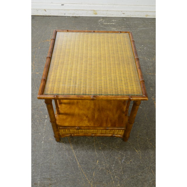 Brown Faux Bamboo & Wicker Side Table by American of Martinsville For Sale - Image 8 of 13