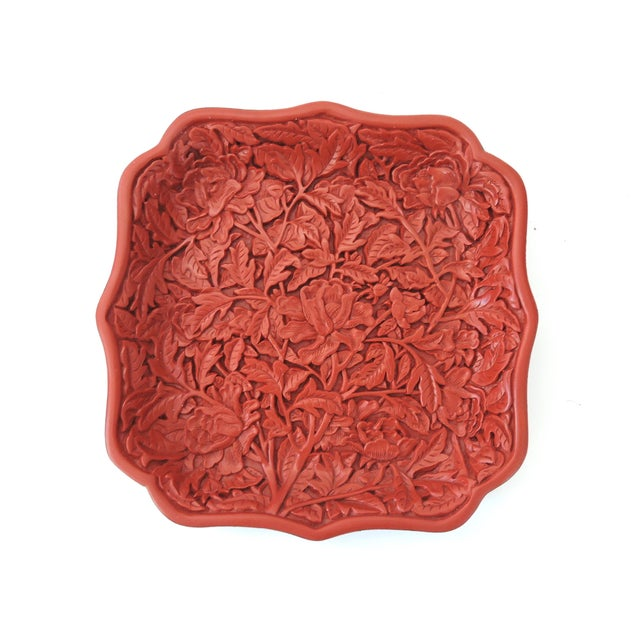 Red Cinnabar Tray/Catchall & Rosewood Stand - Image 7 of 8