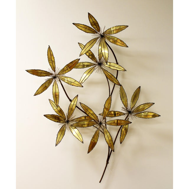 Contemporary Modern Rare Curtis Jere Brass Wall Sculpture Flowers Pom Pom For Sale - Image 9 of 9
