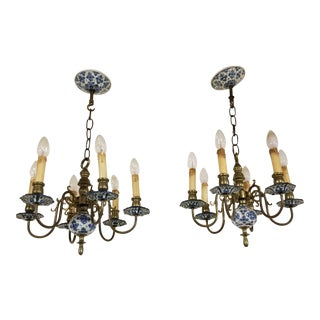 Pair of Blue and White Delft Chandeliers For Sale