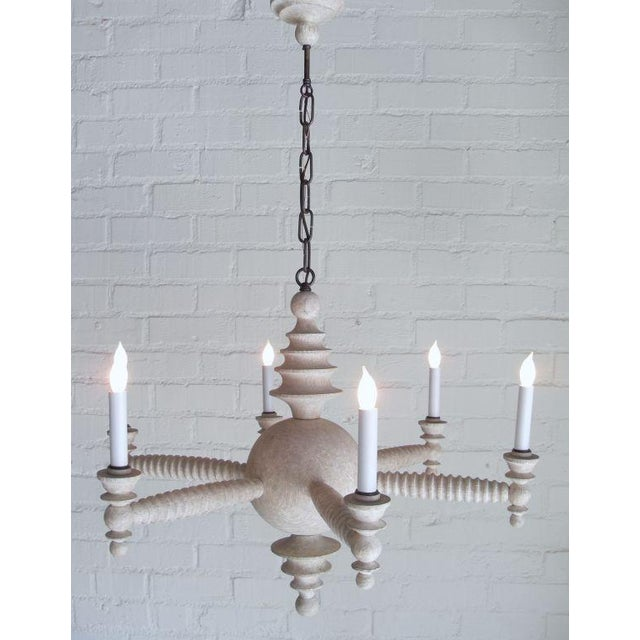 """Paul Marra Design Shaded Spool Chandelier is shown in Driftwood finish and 30"""" diameter. Available to order in other..."""