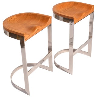 Pair of Oak and Chrome Counter Stools by Warren Bacon For Sale