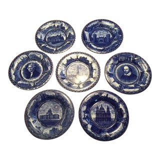 Antique Rowland Marcellus Blue Souvenir Plates - Set of 7 For Sale