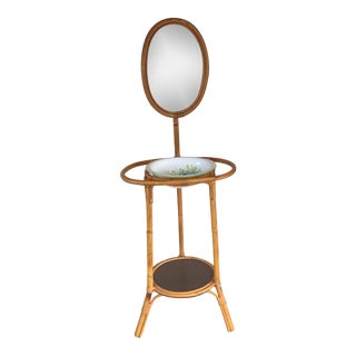 Bamboo Basin and Wash Stand With Mirror For Sale