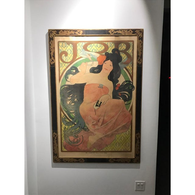 Alphonse Mucha 1898 JOB poster. Excellent condition with beautiful frame under plexiglass ready to hang. Poster for 'Job'...