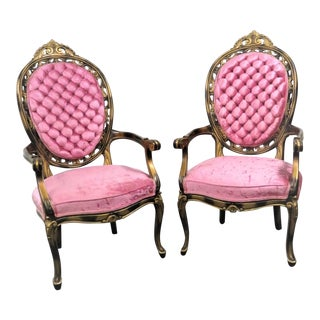 Louis XV Pink Velvet Tufted Gold Carved Chairs - a Pair For Sale