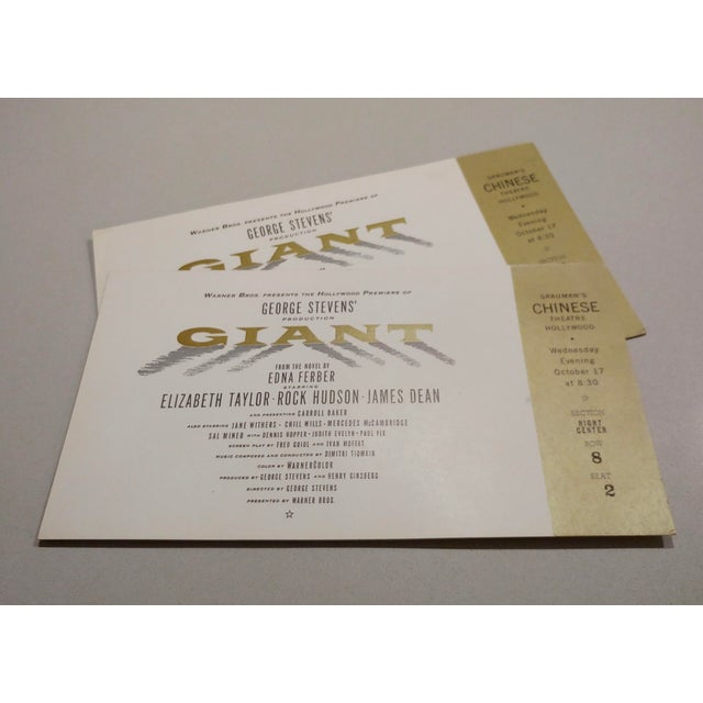 Giant -Pair of Original 1956 Hollywood Premiere tickets-Chinese Theater Pair of original Red Carpet Tickets to the opening...
