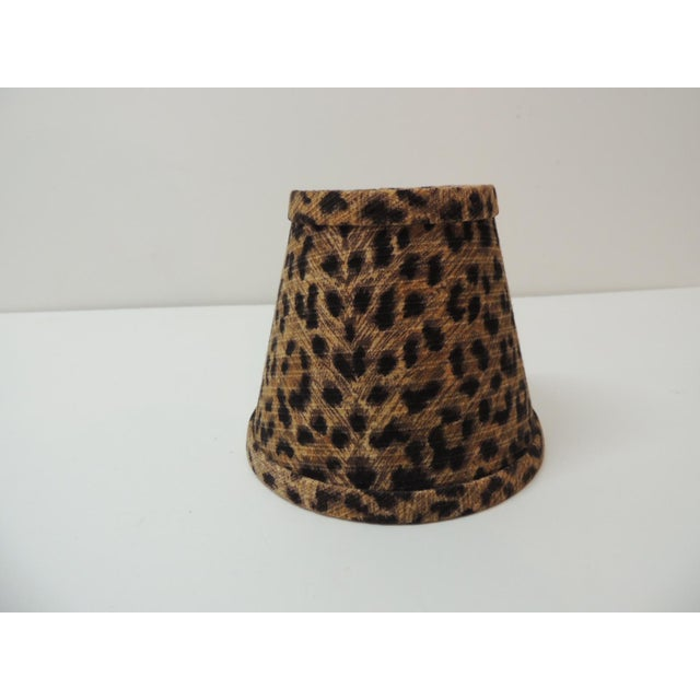 Candelabra Leopard Cotton Fabric Woven Lamp Shade For Sale In Miami - Image 6 of 6