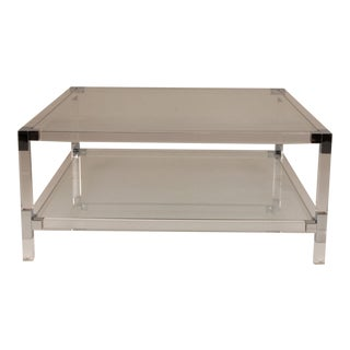 Hollywood Regency 2-Tier Coffee Table Glass, Chrome Corners and Lucite Square Coffee Table For Sale