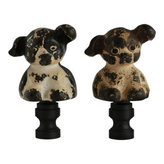 Cast Iron Advertising Dog Lamp Finials - a Pair For Sale