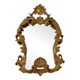 Hand-Carved Giltwood Mirror with Heavily Antiqued Glass, Italy, circa 1950s For Sale