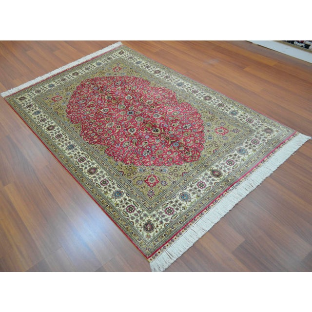 Hand Knotted Turkish Silk Rug - 4′ × 5′10″ - Image 5 of 9