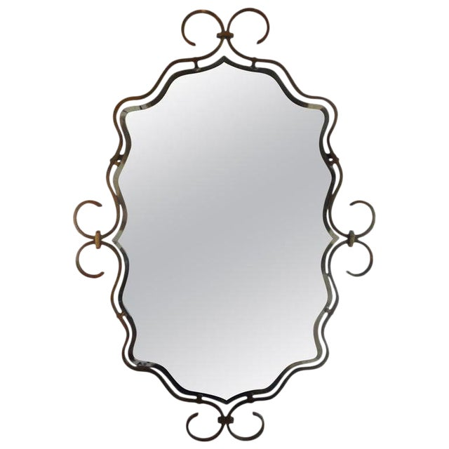 1940s Vintage Raymond Subes Style French Art Deco Bronze Mirror For Sale