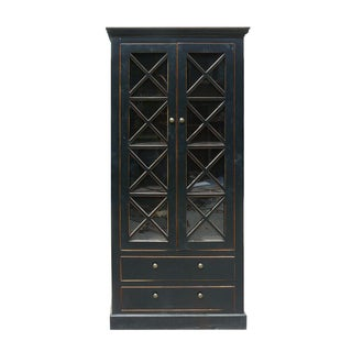 Chinese Glass Showcase Bookcase Cabinet For Sale