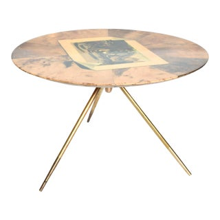 Aldo Tura Mid-Century Modern Round Side Table For Sale