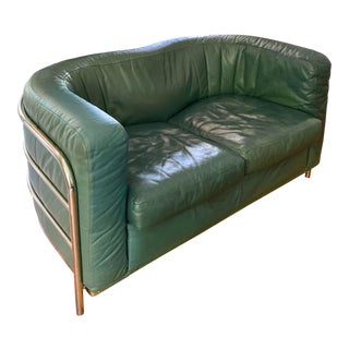 Post Modern Original Zanotta Onda Leather Loveseat For Sale