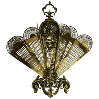 French Polished Brass Fan Fire Screen, 19th Century For Sale