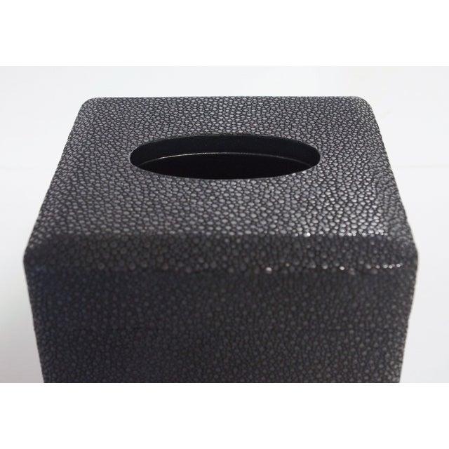 Fabio Ltd Italian Black Shagreen Tissue Box by Fabio Ltd For Sale - Image 4 of 6