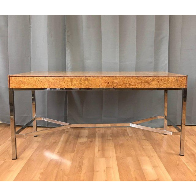 Notable Jack Freidin for Pace Burl Wood and Chrome Desk - Image 2 of 11
