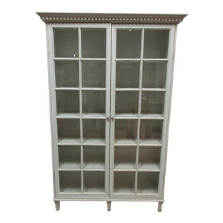 Gustavian Gray 2 Door Glass Cabinet For Sale