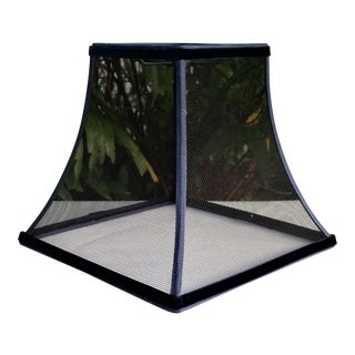 Industrial Wire Mesh Black Stainless Steel Square Bell Navy Blue Trim Lampshade For Sale