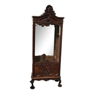 Antique 18th Century French Louis XV Style Carved Oak Glass Vitrine Display Cabinet For Sale