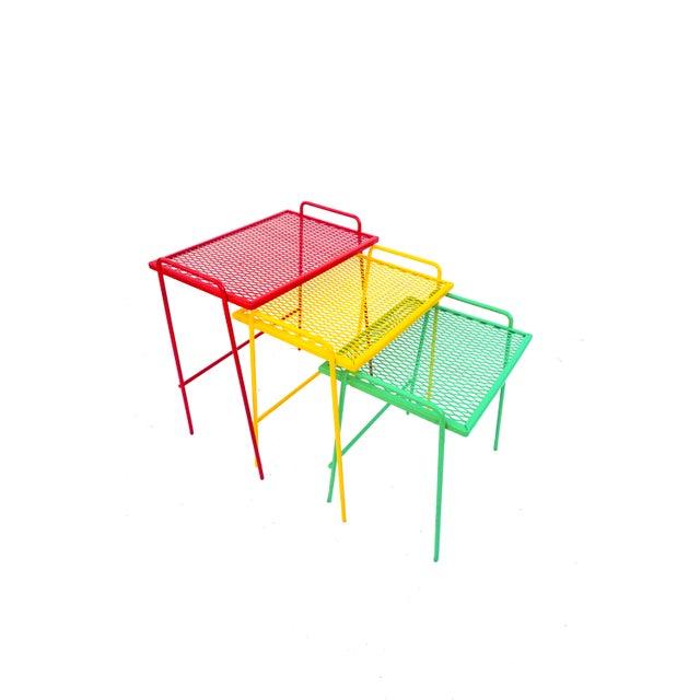Mid-Century Salterini Metal Nesting Tables || Set of 3 Red, Yellow, Green Indoor/Outdoor Versatile Accent Furniture For Sale - Image 11 of 11