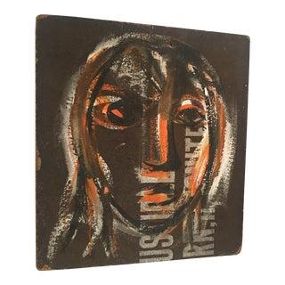 Gouache Female Portrait on Board For Sale