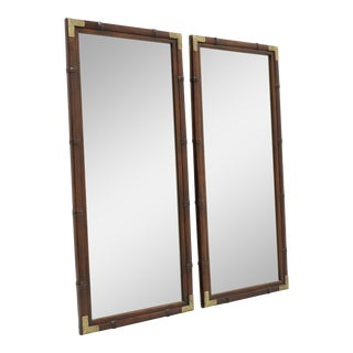 Henredon Asian Japanese Tansu Campaign Style Faux Bamboo Mirrors - a Pair For Sale