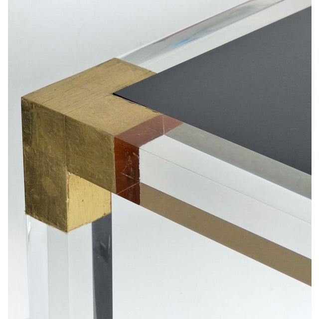 Custom Lucite Side Table W/ Interchangeable Tops & Gold Leaf Accents For Sale - Image 4 of 10