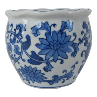 Blue & White Planter For Sale