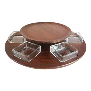 1960s Teak Lazy Susan, Danish Modern Revolving Tray For Sale
