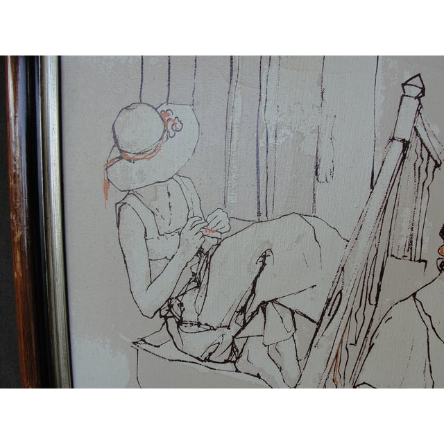 Bernard Dufour Bernard Dufour Study Painting 2 Girls on Stairs For Sale - Image 4 of 8