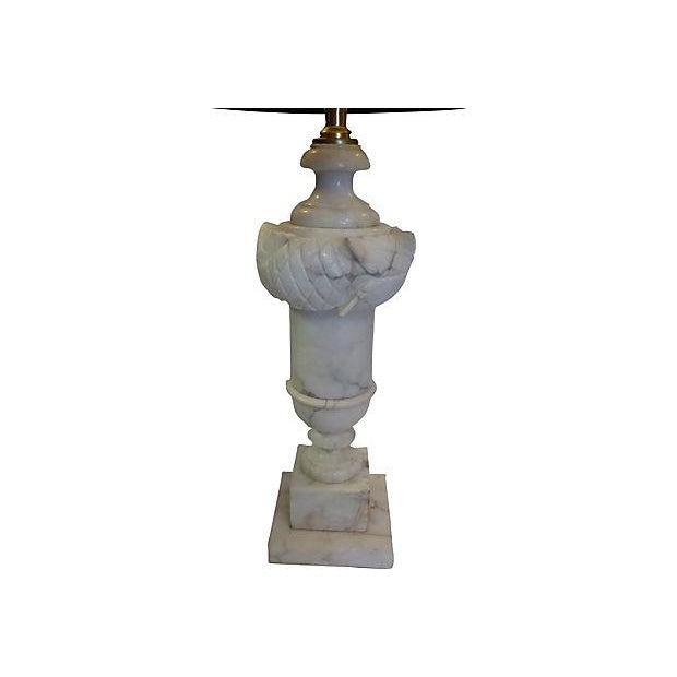 "Neoclassical-style carved alabaster table lamp. 18""H to top of the socket. New wiring; uses standard 75W bulb. Shade is..."