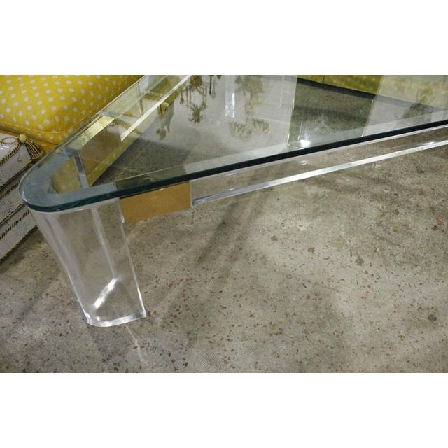 Charles Hollis Jones Lucite and Brass Triangle Coffee or Cocktail Table For Sale - Image 10 of 11