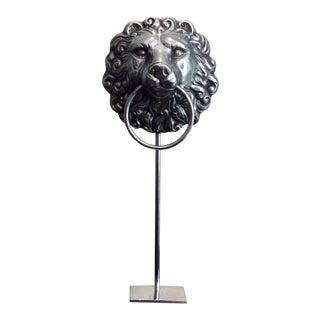 Silver Lion Head Sculpture For Sale