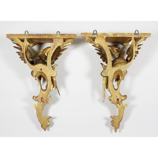 Gold Pair of George III Giltwood Wall Brackets For Sale - Image 8 of 9