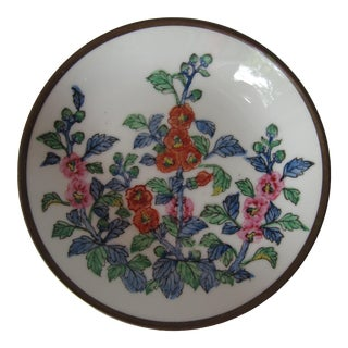 Chinoiserie Flower Plate With Brass For Sale