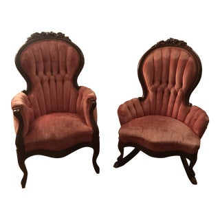 Late 20th Century Vintage Kimball Victorian Mahogany Rose Flower Carved Pink Parlor Chair- a Pair For Sale