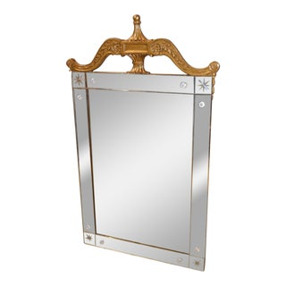 Vintage Art Deco Style Etched Glass Wall Mirror with Carved Burnished Gold Frame
