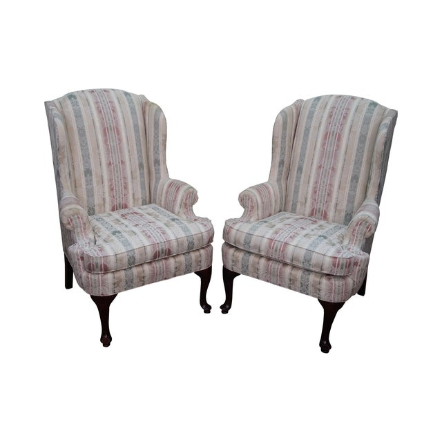 Thomasville Traditional Queen Anne Wing Chairs - 2 For Sale