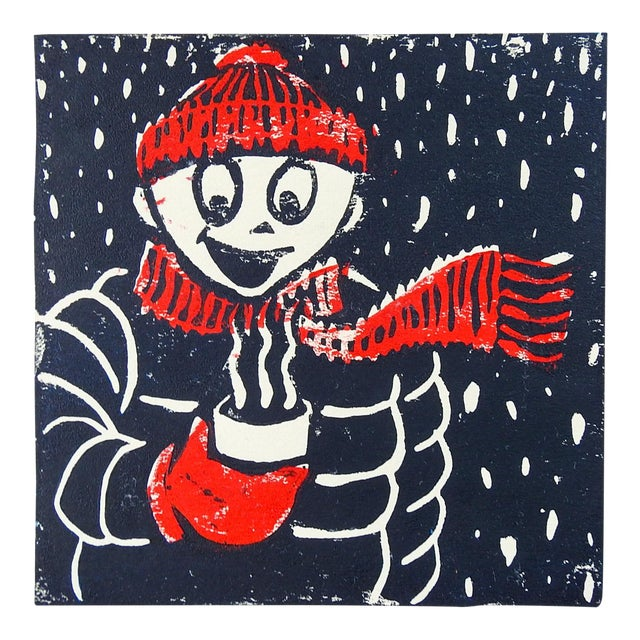 Winter Figure & Hot Chocolate Serigraph in Red & Black For Sale