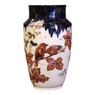 19th Century French Hand Painted Porcelain Vase For Sale
