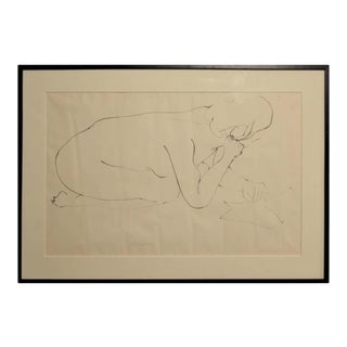 1960s Gertrude Barnstone Abstract Pen Contour Line Drawing of a Nude Figure Hunched Over Reading a Book, Framed For Sale