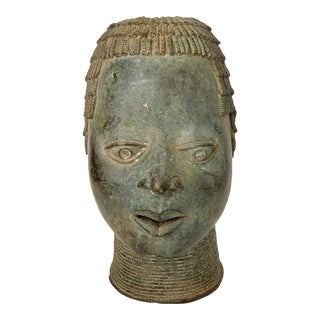 Benin Bronze Head of Oba Nigeria African For Sale