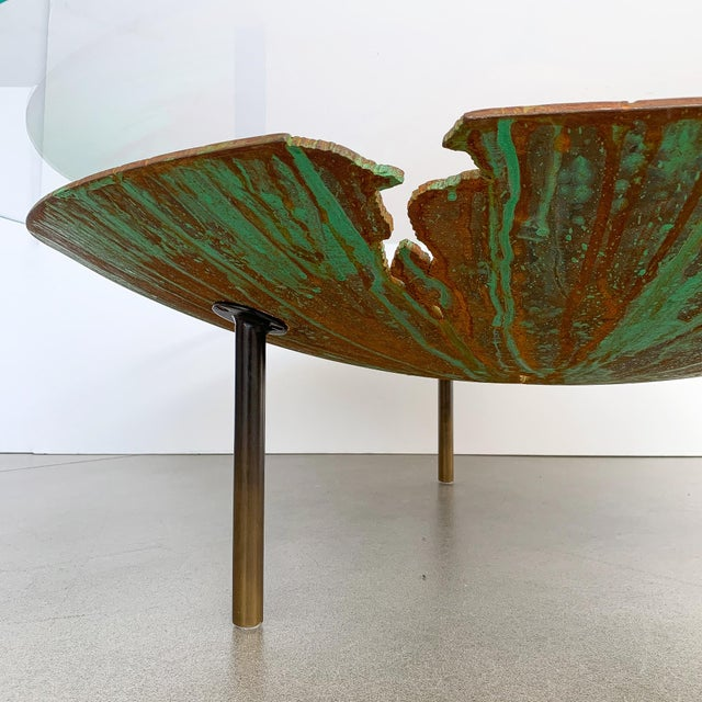 """David Orth Patinated Steel """"Meteorite"""" Coffee Table For Sale In Chicago - Image 6 of 12"""